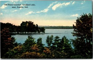 Old Point Comfort at Crooked Lake Near Angola IN c1914 Vintage Postcard B05