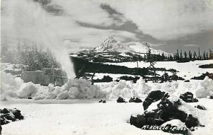 RPPC of a Rotary Snow Plow Working on McKenzie Pass Oregon OR