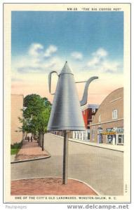 The Big Coffee Pot, An Old City Landmark, Winston-Salem NC, Linen