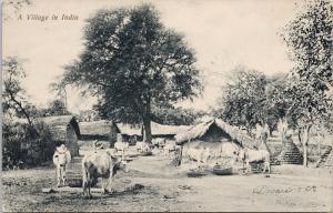 A Village in India Unused Devare & Co Signed Postcard E59