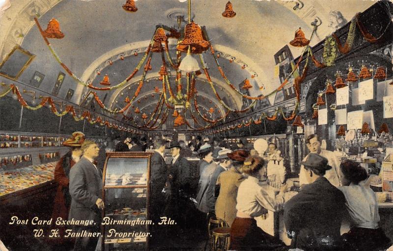 Birmingham AL Faulkner's Post Card Exchange Club~Bar & Hanging Bells~c1910 PC