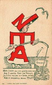 NEA Teacher Fishing Original Vintage Postcard