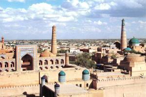 Uzbekistan Khiva Panorama Chiwa Der Rundblick