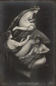 Metamorphic Fantasy - Nude Women LE CUIRASSIER c1910 RPPC gfz