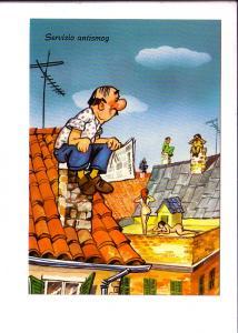 Comic Cartoon, Men Watching Women Nude Sunbathing, Italy