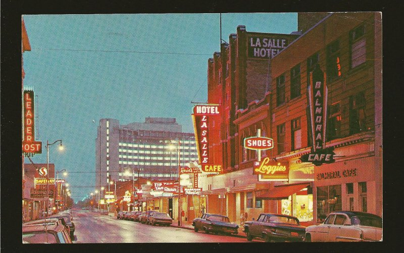 Postmarked 1967 Regina Saskatchewan The Queen City Hamilton Street at Night