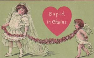 Valentine's Day Young Girl With Cupid In Chains