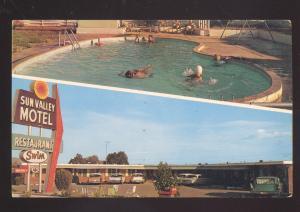 VAN HORN TEXAS 1950's CARS SUN VALLEY MOTEL RESTAURANT ADVERTISING POSTCARD