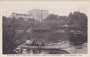 California Los Angeles Boating West Lake Park Showing Ansonia Apartments