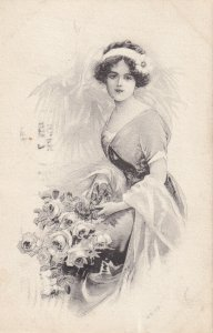 Portrait Of A Woman With A Bouquet Of Roses, PU-1913; G.A.B.