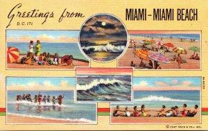 Florida Miami & Miami Beach Greetings Multi View Curteich