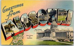 MISSOURI Large Letter Postcard w/ State Capitol & Hawthorn Flower Linen c1940s