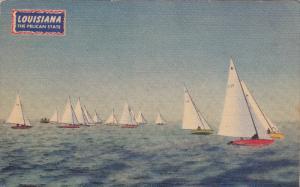 Star Sloop Sail Boats, Sparkling Lake Ponchortrain, Louisiana, PU-1948