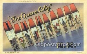Manchester, NH, USA Large Letter Town Postcard Post Card Old Vintage Antique ...