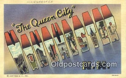 Manchester, NH, USA Large Letter Town Postcard Post Card Old Vintage Antique ...