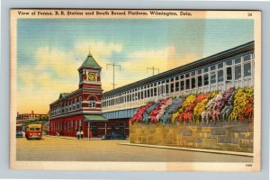 Wilmington DE, View Of PA Railroad Station, Platform, Linen Delaware Postcard