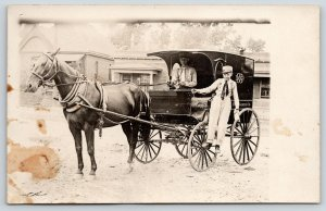 Real Photo Postcard~Delivery Boys in Dry Goods Company Horse Wagon~c1912 RPPC