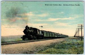 CORLETT, Wyoming  WY   Railroad  UNION PACIFIC TRAIN  ca 1910s  Postcard
