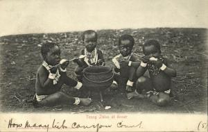 south africa, Young Zulus at Dinner (1904) Sallo Epstein & Co. Postcard