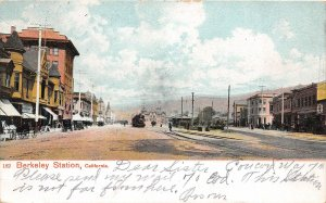 G26/ Berkeley Station California Postcard 1907 Locomotive Railroad Depot