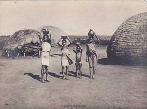 RP, Zulu Life, Zulu Children Carrying Beer, South Africa, 1920-1940s