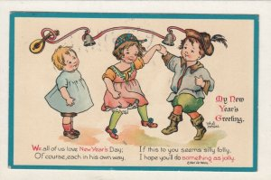 AS: NEW YEAR, 1900-10s; Children dancing to bells, Poem