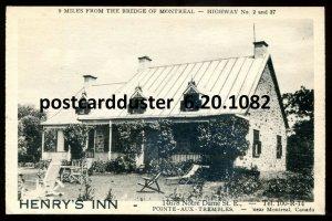 1082 - POINTE AUX TREMBLES Quebec Postcard 1930s Henry's Inn