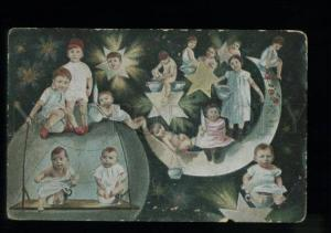 134705 MULTIPLE BABIES on EARTH & MOON vintage COLLAGE