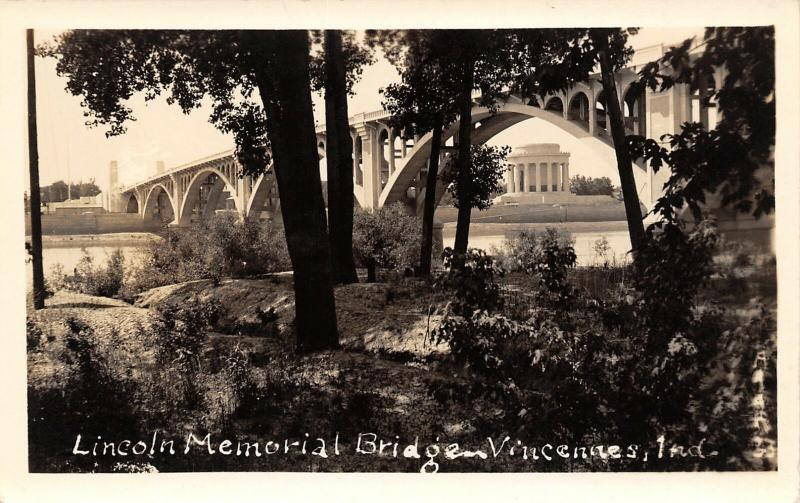 Vincennes Indiana~Lincoln Memorial Bridge~Under Arches~1930s Real Photo~RPPC