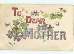 Pre-Linen TO DEAR MOTHER - SPELLED IN BIG FLOWER LETTERS AC4145