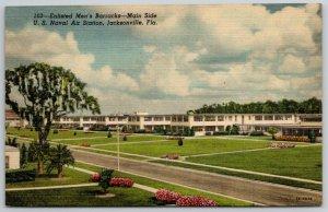 Jacksonville FL~WWII Era Linen~Navy Air Station Main Side~Mens Barracks~c1940 PC