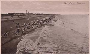 North Sands Skegness Caravan Parked on Path Antique Lincs Old Postcard
