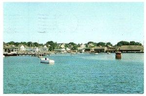 Martha's Vineyard Island Mass Yact Club & Edgardtown Harbor Postcard 1956