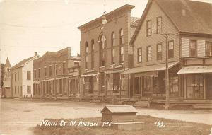 North Anson ME Main Street Store Fronts RPPC Postcard