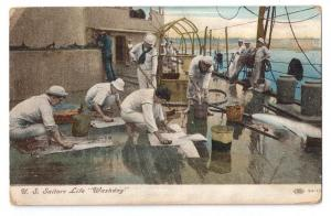 Navy Sailors Life Washday Vintage Military Postcard c 1910