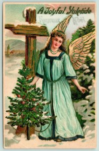 Christmas~Beautiful Angel by Snowy Rural Signpost~Decorated Tree~Embossed~MAB