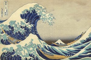 Fine Art Quality Postcard, The Great Wave Off Kanagawa Katsushika Hokusai 92X