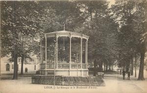 Liege Belgium~Le Kiosque et le Blvd D'Avroy~Bandstand in Avroy Park 1940 B&W