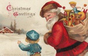 CLAPSADDLE: Child & Santa Claus at Christmas , 1908