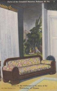 West Virginia Bethany Parlor Of The  Campbell Mansion Scene On The Wallpaper ...