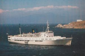 MV Neptune Liner Ship Approaching Skiros Postcard