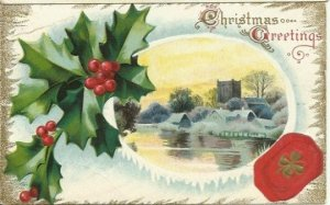 Vintage Postcard, Woodland Country Scene Christmas Greetings with Holly Berry