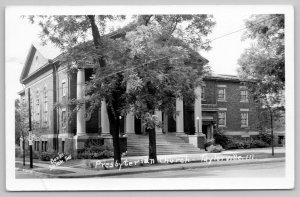 Taylorville IL~Presbyterian Church Columns~Floods* Highest in History RPPC 1957