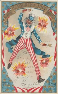 FOURTH of JULY , 1908 ; Uncle Sam throws Firecrackers