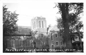 Carroll Iowa~Presbyterian Church~Brick Bldg with Large Square Steeple~'50s RPPC