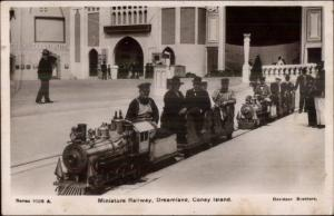 Coney Island New York NY Dreamland Miniature RR Train Real Photo Postcard