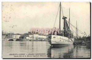 Old Postcard Chalon sur Saone Warship Building Schneider & Cie Guard Marine R...