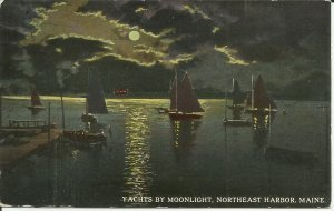 Northeast Harbor, Maine, Yachts By Moonlight