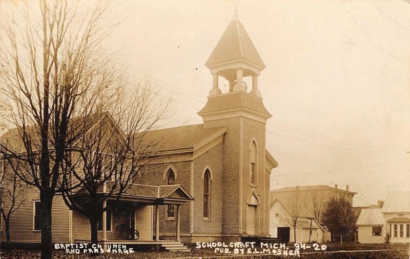 Schoolcraft MI Open Belltower on Baptist Church~Fancy Porch Parsonage~RPPC c191