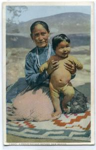 Navajo Native American Indian Woman Baby New Mexico 1920s Fred Harvey postcard